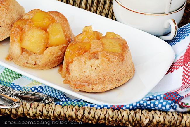 Skinny Upside Down Caramel Creme Pineapple Cupcakes | Only 5 Weight Watchers Points Plus each.