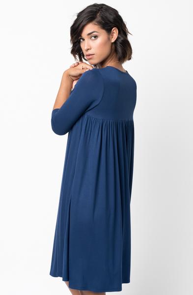 Shop for Navy Blue Shirred Back Midi 3/4 sleeve jersey dress crew neck online on caralase.com