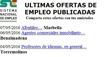 Marbella, Benalmadena, Torremolinos, Málaga. Lanzadera de Empleo Virtual. Sistema Nacional de Empleo