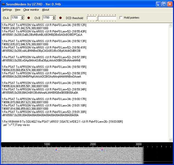 Packet captured on Soundmodem