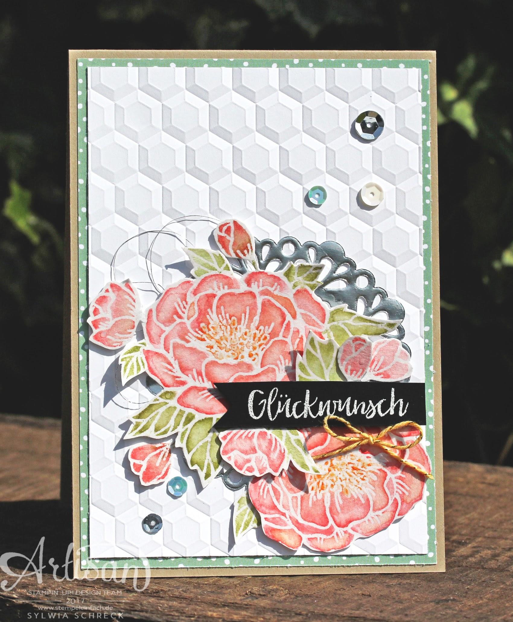 Karte-Stampin up-Geburtstagsblumen