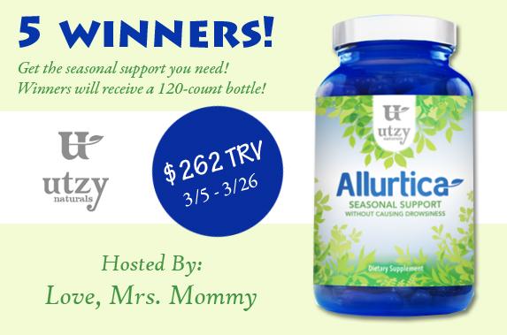 Utzy Naturals Allurtica Seasonal Relief Giveaway! 5 winners will be drawn