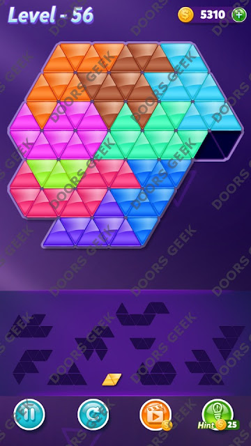 Block! Triangle Puzzle Master Level 56 Solution, Cheats, Walkthrough for Android, iPhone, iPad and iPod