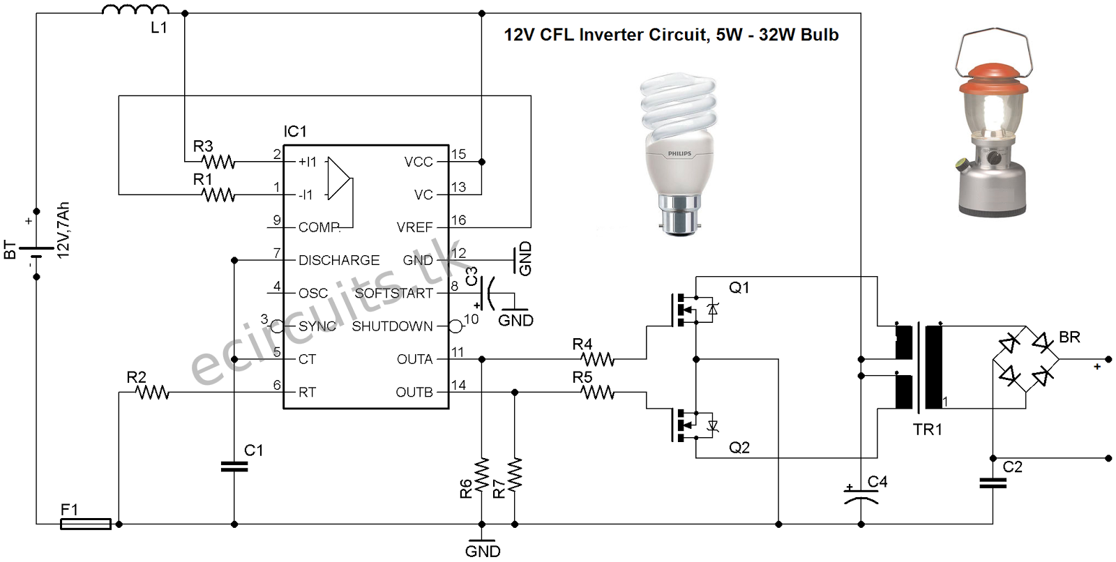 Cfl Ups Circuit Diagram Manual Guide Wiring Simple Electronics Hobby 12v Emergency Light Using 3525 Ic Mini Inverter Electronic Circuits Starter 110v