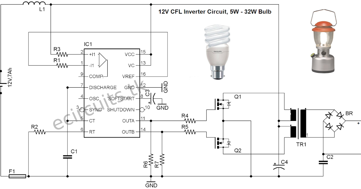 12V CFL Emergency Light Circuit Using 3525 IC | Mini