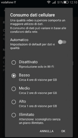 App Netflix opzione Consumo dati cellulare Android iPhone