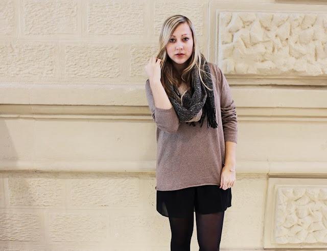 Strick Kleines Schwarzes Kleid ootd Mode Blog Fashionblogger Layering Look Chic