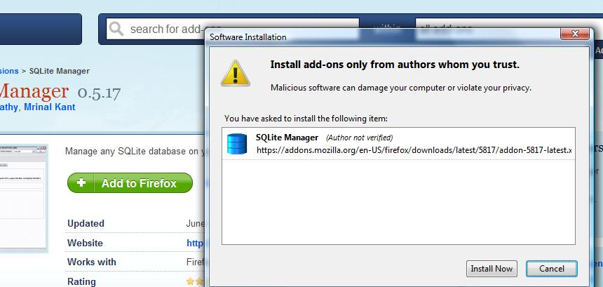 Install SQlite Manager.
