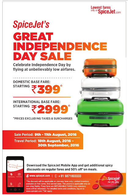 Spicejet's Great independence sale | August 2016 discount offers on sir tickets