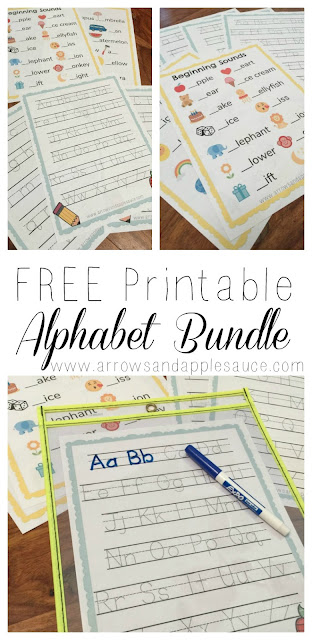 free printable five page alphabet tracing beginning sounds worksheets