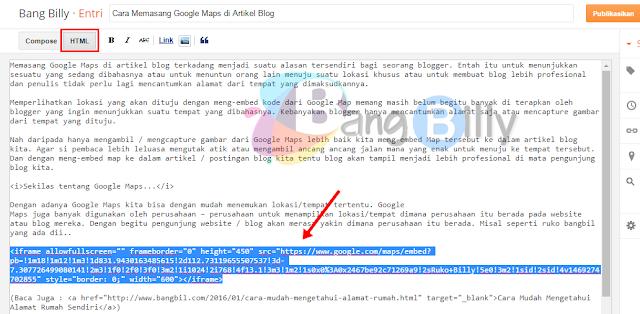 Pilih Mode HTML pada Artikel