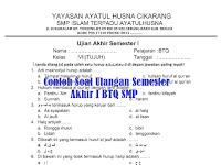 Contoh Soal Ulangan Semester Akhir I BTQ Jenjang SMP/MTs