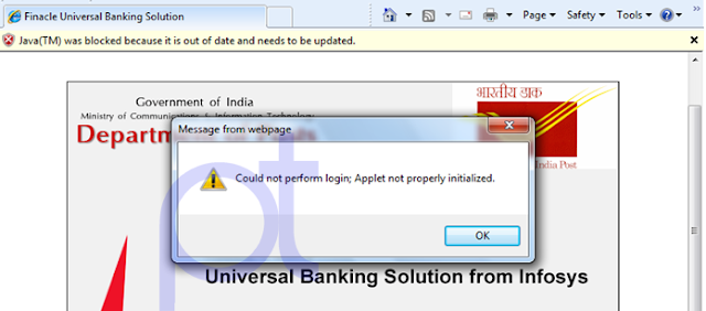 Could not perform login; Applet not properly initialized ...