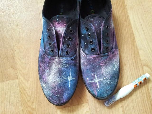 DIY, galaxy, chaussures, my little quail, la perle des loisirs