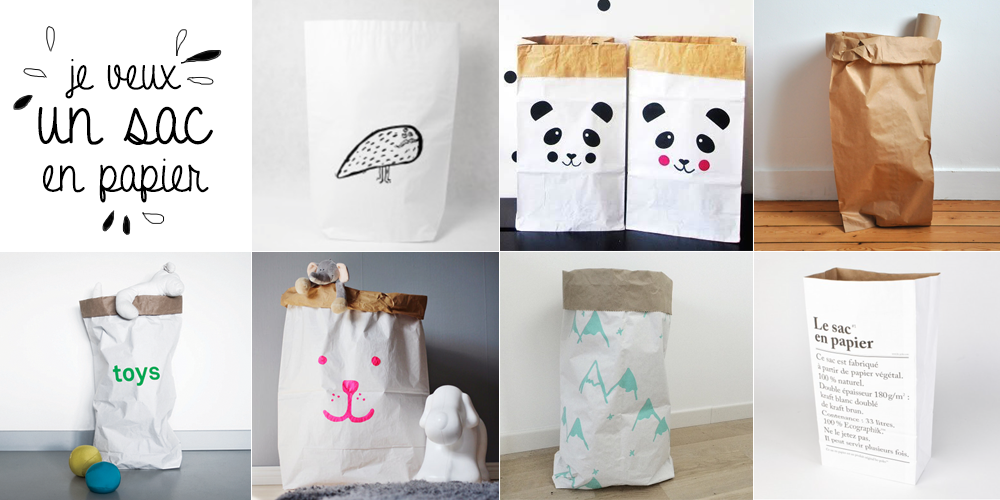 s lection de sacs en papier pour tout ranger knut loulou blog kids enfant mode d co diy. Black Bedroom Furniture Sets. Home Design Ideas