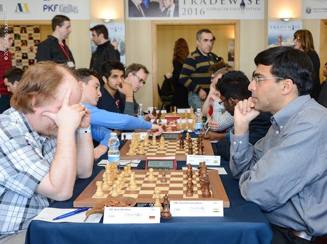 Vishy Anand en el Tradewise Gibraltar Masters (Foto: John Saunders)