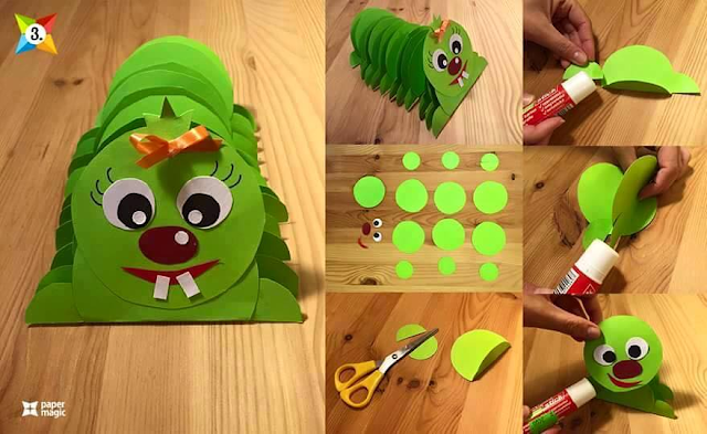 Learn to make caterpillar from paper for kids