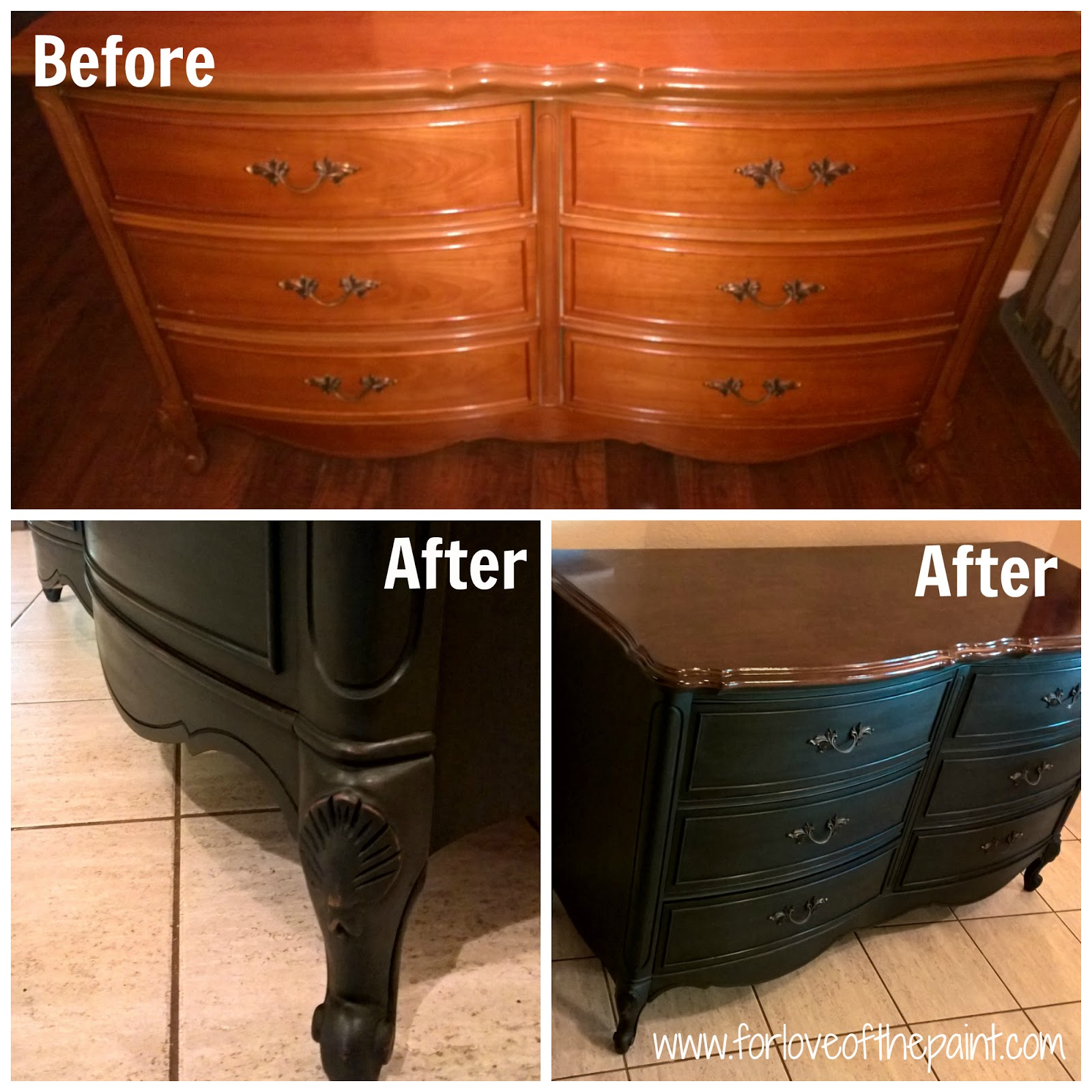 Dark Brown Chalk Paint Kitchen Cabinets: For Love Of The Paint: Before And After : Vintage 6 Drawer