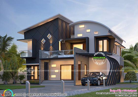 Stunning ultra modern 4 BHK Kerala house plan