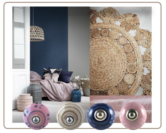 boutons de placards bleu, bouton de tiroirs rose, bouton spiral beige