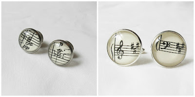 image music-themed accessories collar pins cufflinks two cheeky monkeys music sheet note musician
