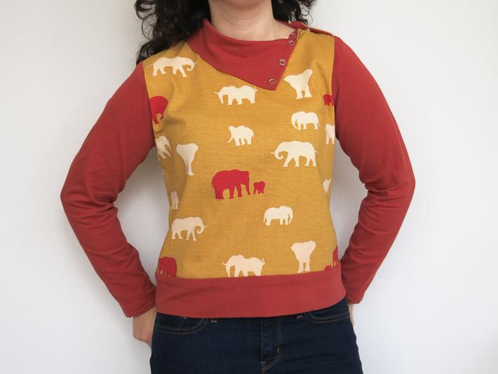 La camiseta de elefantes bronceados