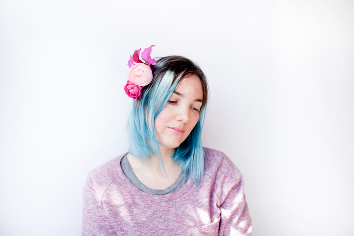 blue hair girl with flowers