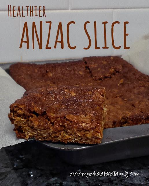 Healthier ANZAC Slice from www.mywholefoodfamily.com