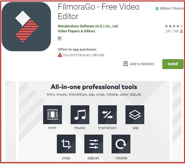 FilmoraGo Editing Video