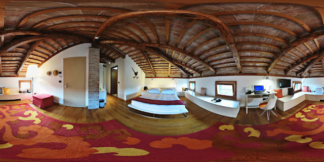 Hi-Fidelity 360° panorama of a luxury resort hotel room, Mazzorbo. Travel photography by Kent Johnson.