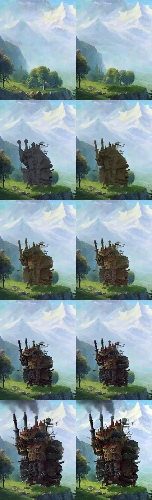 Step-by-step process of the Moving Castle in the Staubbach environment