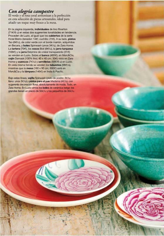 Hogares frescos invita el color a la mesa originales for Modelos de vajillas