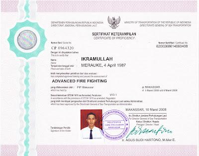 IKRAMULLAH IDRIS Contoh Model sertifikat keahlian pelaut