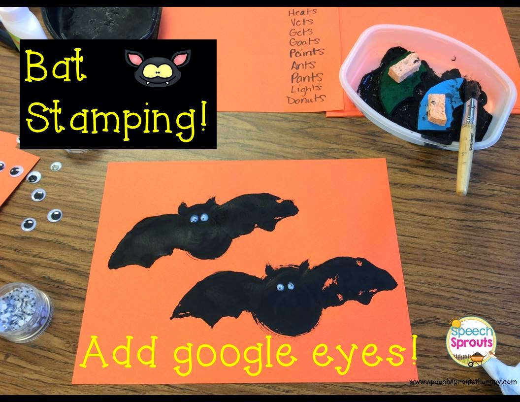 Stamping Bats craft- teaching plurals in speech therapy