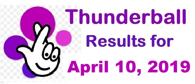 Thunderball results for Wednesday, 10 April 2019