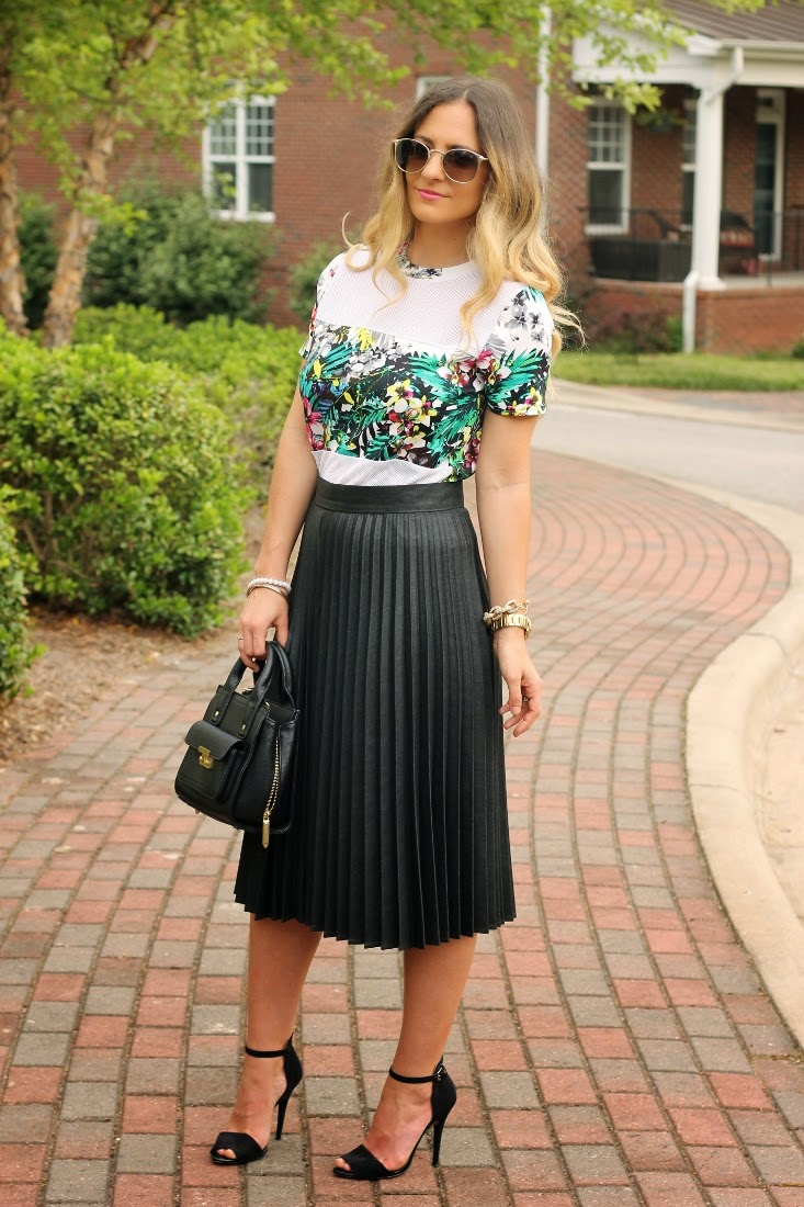 0a287ff0 Bedazzles After Dark: Outfit Post: Tropical Print Top + Leather Skirt