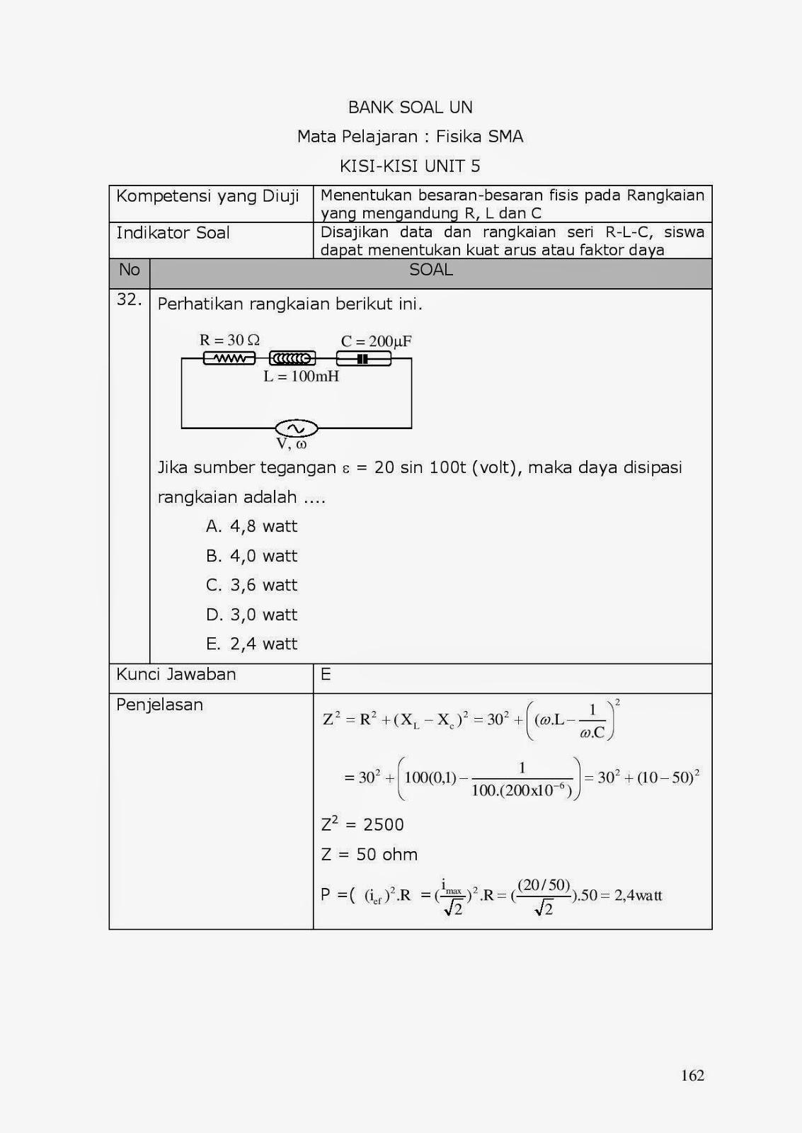 Achmad Saifudin 29 Pembahasan Soal Soal Un Fisika Rangkaian Seri Rlc
