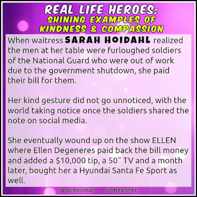 When young waitress Sarah Hoidahl decided to help two furloughed soldiers by paying for their meals, her kindness did not go unnoticed.