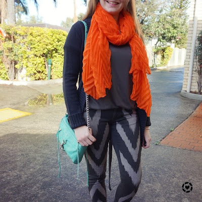 awayfromblue instagram | SAHM style printed skinny jeans monochrome outfit with colourful bold accessories