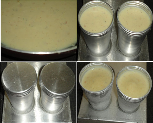 pour the kulfi milk mixture in the mould and keep in the freezer