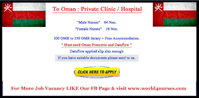 Male and Female Nurses to Oman Private Clinic and Hospital - Apply now
