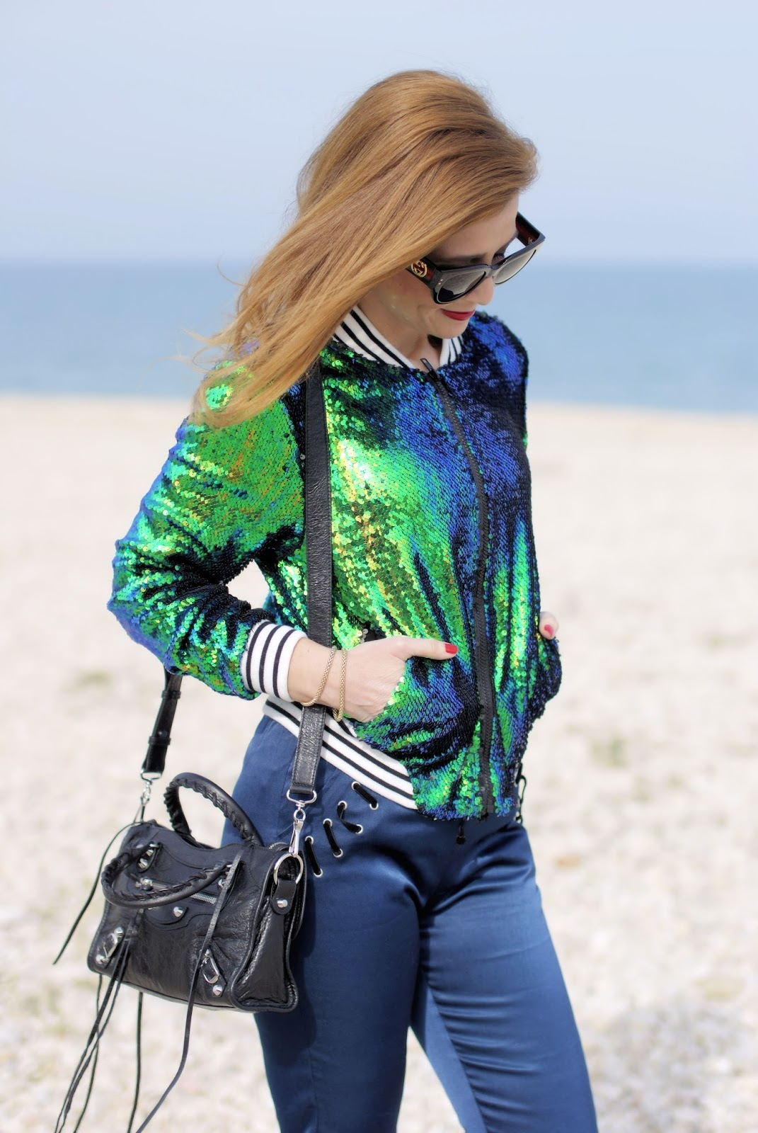 Sequins bomber jacket and Gucci sunglasses on Fashion and Cookies fashion blog, fashion blogger style