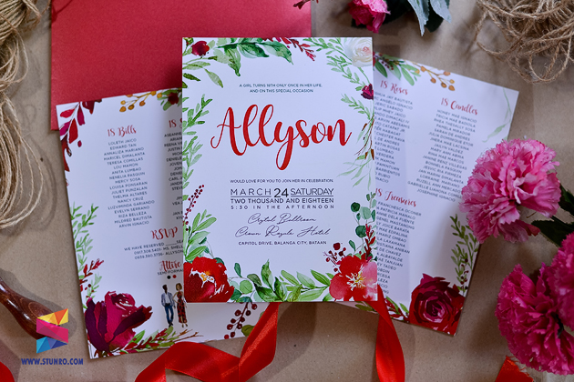 red enchanted forest themed debut invitation stunro creativeworks