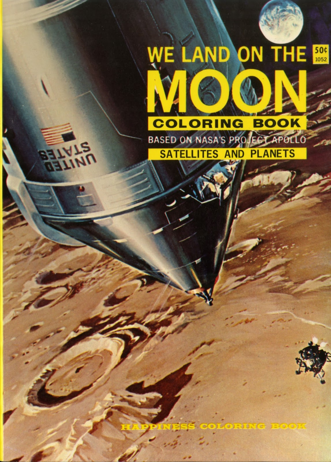 We Land On The Moon Coloring Book Based NASAa Project Apollo Satellites And Planets 1969