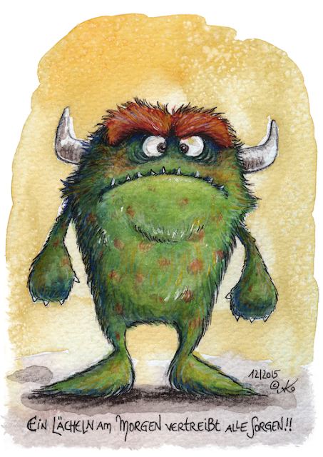 Kommoß, Monster, Illustration, Aquarell, watercolor, cartoon, Kommoss