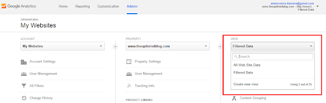 switching from one view to another in google analytics