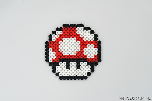 Super Mario World mushroom perler bead craft from And Next Comes L