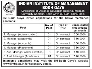 IIM Bodh Gaya Recruitment 2016-17, www.iimbg.ac.in