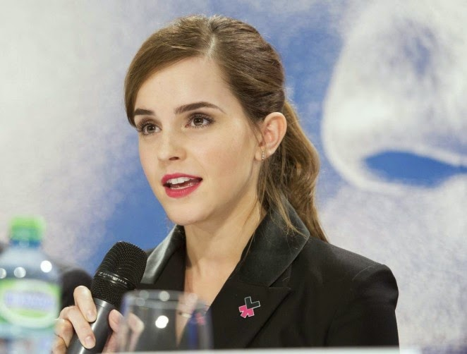 Emma Watson wears a black pant suit for the World Economic Forum in Davos, Switzerland