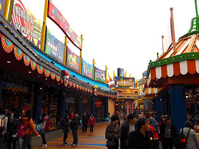 Fairground stalls in Thrill Mountain, Ocean Park, Hong Kong
